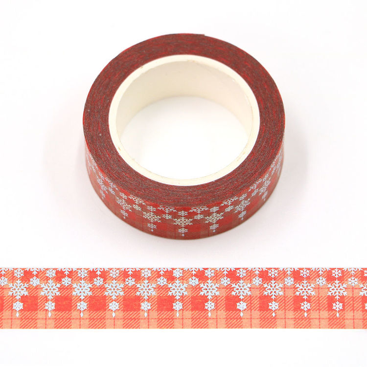 15mm x 10m CMYK Red tartan Silver Holographic Foil snowflake washi tape