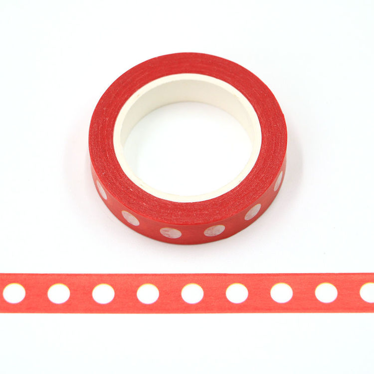 10mm x 10m CMYK white dot red background washi tape