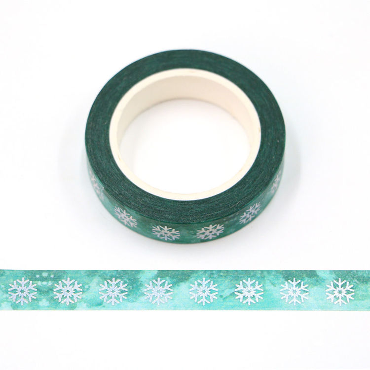 10mm x 10m CMYK Watercolor green Holographic Foil snowflake washi tape