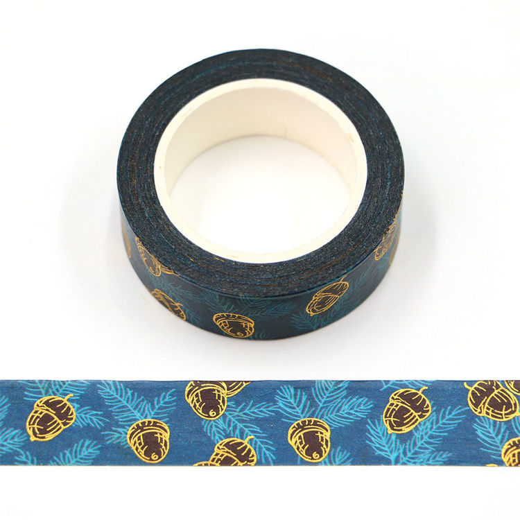 15mm x 10m CMYK Pine Needles Gold Foil Pine cone Washi Tape
