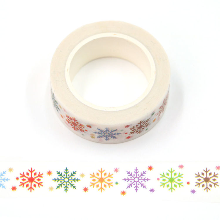 15mm x 10m CMYK Colored snowflakes washi tape