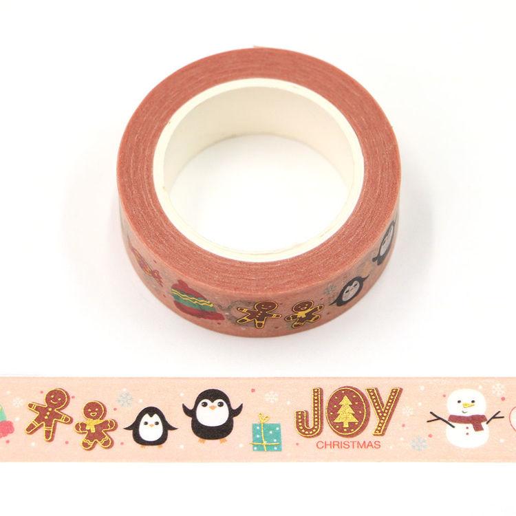 15mm x 10m Gold Foil CMYK Christmas Joy Washi Tape