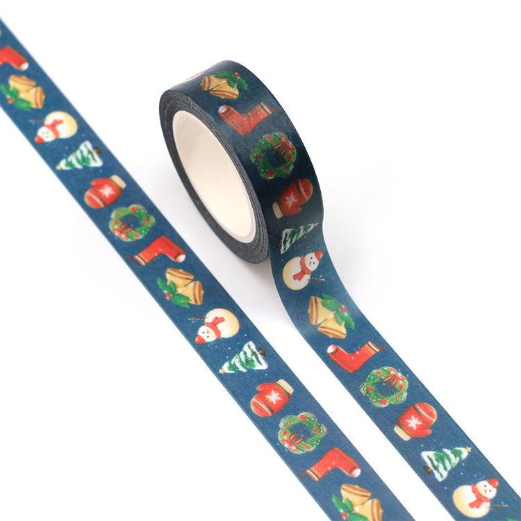 15mm x 10m CMYK Christmas Elements-Blue Washi Tape