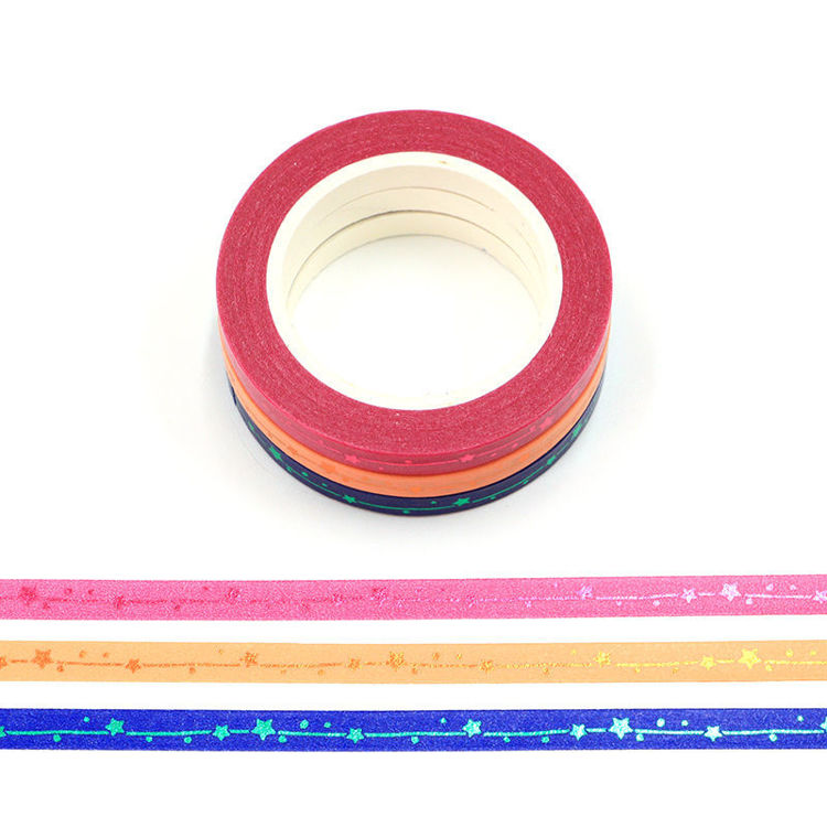 5mm*10m 3 colors skinny stars washi tape