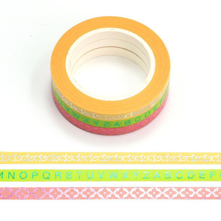 5mm x 10m Slim Gold Foil Color Washi Tape Set of 3 rolls set 1