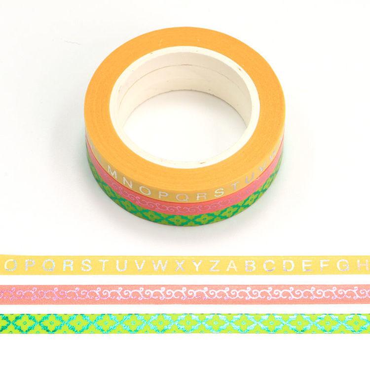 5mm x 10m Slim Gold Foil Color Washi Tape Set of 3 rolls set 3