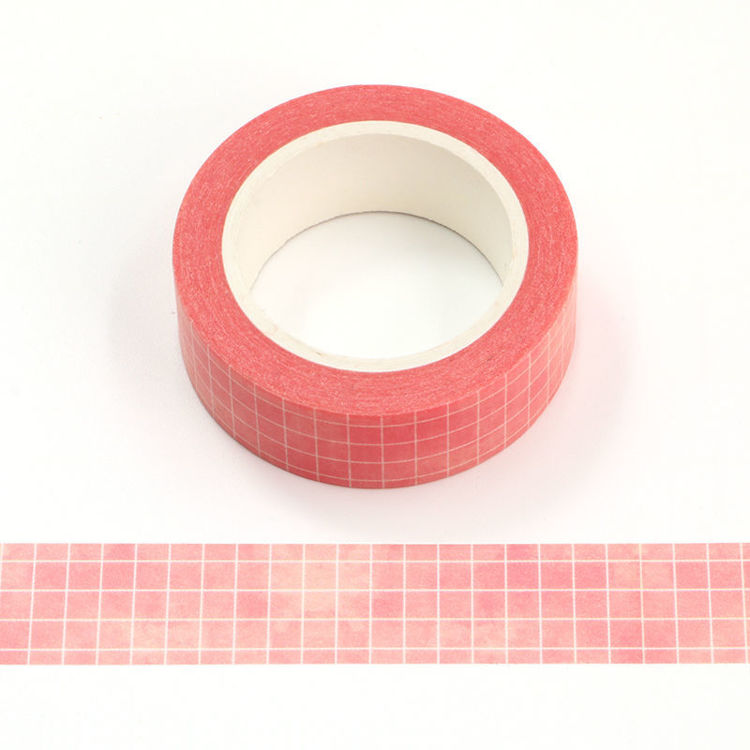 15mm x 10m White Plaid Pink Watercolor Background Washi Tape