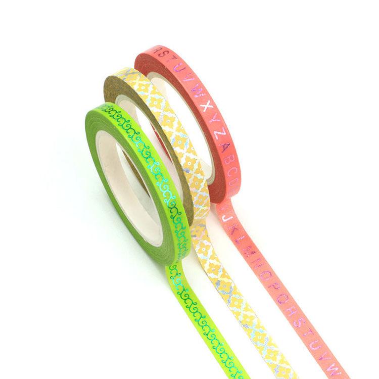 5mm x 10m Slim Gold Foil Color Washi Tape Set of 3 rolls set 2