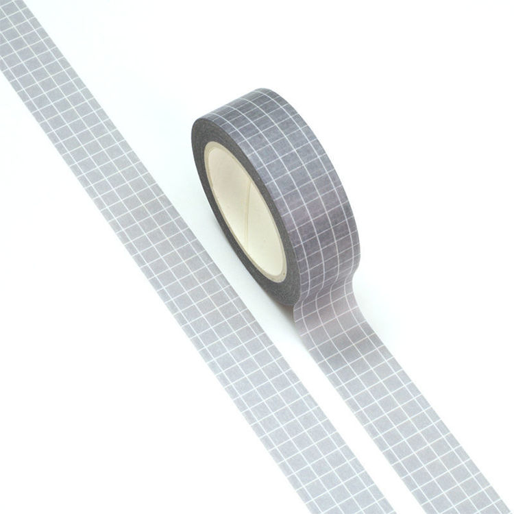 15mm x 10m White Color Plaid Gray Background Washi Tape