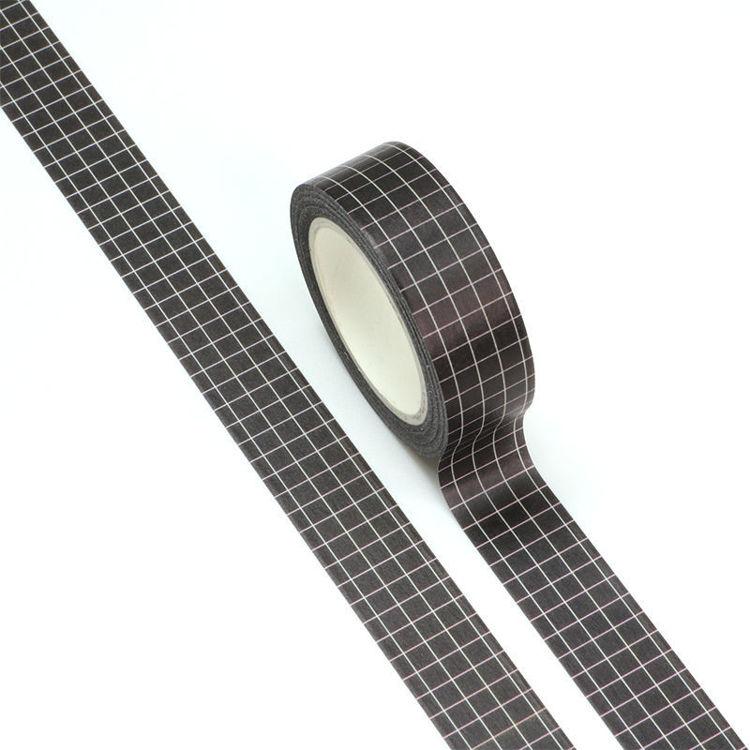 15mm x 10m White Plaid Black Background Washi Tape